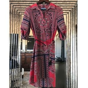 NWOT Antonio Melani Paisley Print Shirt Dress  8